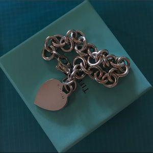 Tiffany&Co heart charm bracelet sterling silver